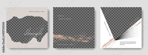 Obraz Abstract social media layouts with trendy graphic design elements, place for photo in the background, sqaure templates for bloggers and influencers - fototapety do salonu