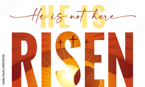 He is not here He is Risen - typography quote with Calvary and caves on the background Tapéta, Fotótapéta