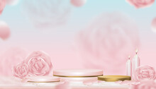 Podium Showcase Display English Rose, Aroma Candle With Pink And Yellow Gold Stand, Vector Illustration Realistic 3D Of Pink Gold Cylinder Stand Platform  On Blurry Spring Flower Background