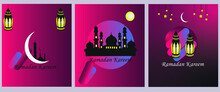 Ramadan Kareem Set Of Posters, Paper Cut Islamic Lanterns, Stars And Moon On Red Black Background. Eps 10. Place For Text.