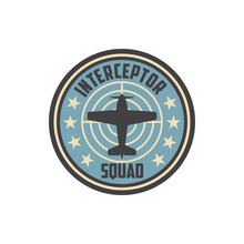 Interceptor Squad Army Chevron Insignia On Non-commissioned Officers Uniform Isolated Patch With Military Aircraft. Vector Wwii Plane, Airplane Jet Fighter, Supermarine Spitfire. Propelled Jet Emblem