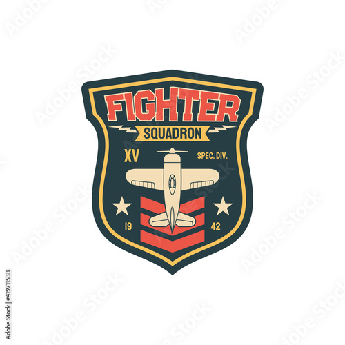 Fotografia, Obraz Squadron fleet air navy, aviation squad army chevron insignia of airplane jet fighter isolated patch on military uniform