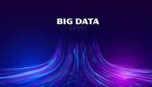 Big Data Vector Background. Data Funnel Ai Network. Quantum Technology Bigdata