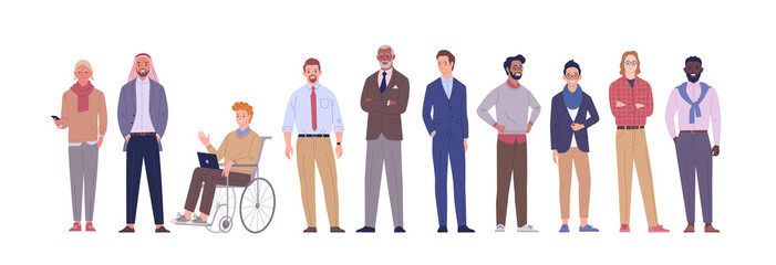 Businessmen team. Vector illustration of diverse multinational cartoon men in office outfits. Isolated on white.