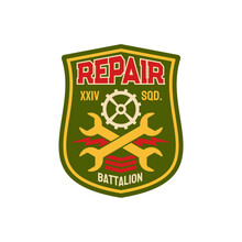 Repair Battalion Engineering Squadron Chevron With Crossed Wrenches And Gear Mechanism. Vector Engineering Squadron Isolated Army Patch On Military Uniform. Engineer Division Squad To Fix And Maintain