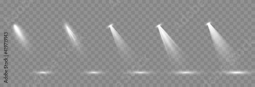 Vector set of light. Light source, studio lighting, walls, png. Light beams, light effect. - fototapety na wymiar