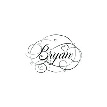 """English Calligraphy """"Bryan"""" Name, A Unique Hand Drawn Vector Design For Wedding And More."""