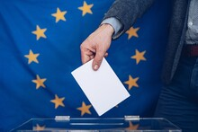 Elections To The European Parliament. Voting In Polling Station. European Union.