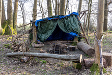 Primitive Survival Shelter In The Forest