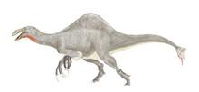 恐竜ディノケイルスの復元想像図。白亜紀末期に生存した大型雑食性の恐竜。最近まで全長4メートルの巨大な両腕の骨格のみが知られていたが、未確認の胴体部分が2006年、2009年に発見されていたことを確認し、再現性が一気に高まった。歯はなく、背中に高い帆を持つ。ディノケイルスという属名は「恐ろしい手」を意味するが、魚食と植物食の雑食性でおとなしい恐竜であったとされる。