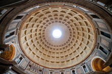 Italy, Rome, Pantheon Church Interior Dome With Oculus
