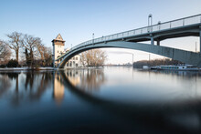 Germany, Berlin, Abteibrucke, River And Bridge On Winter Day
