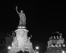 France, Ile-de-France, Paris, Monument A La Republique At Place De La Republique Square At Night