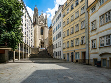 Austria, Vienna, Passauer Square With Marie Am Gestade Church
