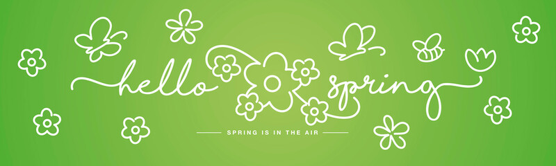 Hello Spring handwritten typography lettering spring is in the air with  white flowers, butterflies and bee on green background drawing in line design