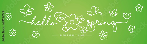 Hello Spring handwritten typography lettering spring is in the air with  white flowers, butterflies and bee on green background drawing in line design - fototapety na wymiar