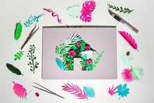 Paper Craft Of Eco Home With Plants And Flowers Amidst Scraps On White Background