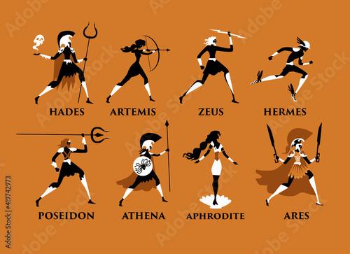 Fotomural greek mythology orange and black figures olympus gods