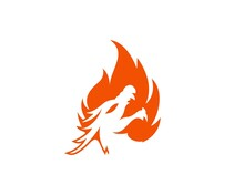 Fire Logo With Dragon Inside Vector