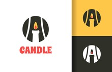 Initial A With Candle Abstract Logo Company, Logo Vector Template Design. Ready To Use, Easy For Edit.