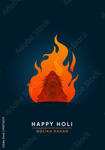 Fototapeta Happy Holi Minimal Holika Dahan Poster - Vector