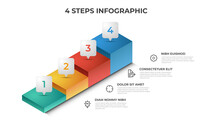 4 Stairs Steps Infographic Element Template Vector, Layout Design For Presentation, Diagram, Etc