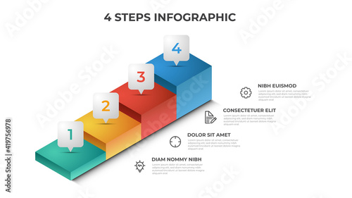4 stairs steps infographic element template vector, layout design for presentation, diagram, etc - fototapety na wymiar