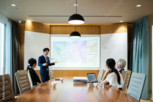 Fototapeta 若手男性社員が進行する会議風景 obraz