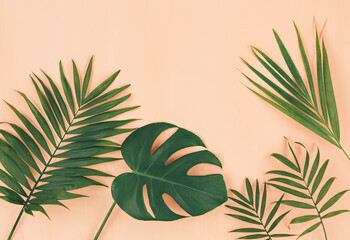 Tropical palm leaves on pastel coral orange background. Trendy tropical pattern. Flat lay. Summer, vacation, holidays concept.