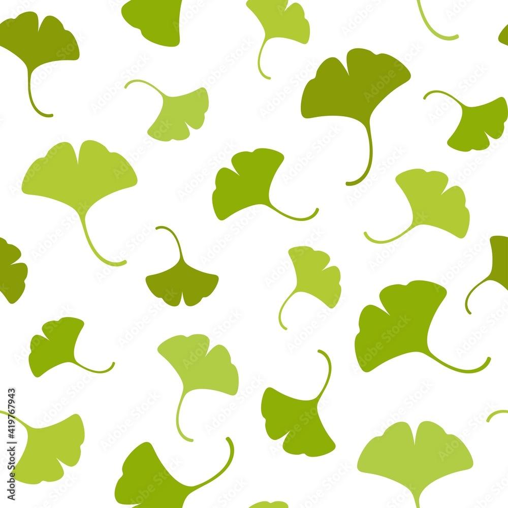Fototapeta Seamless floral pattern green ginkgo biloba leaves. Floral texture on white background.