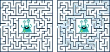 Circular Maze With Way From Center To Exit On Turquoise Blue Background. Problem, Confusion And Solution Concept. Flat Design