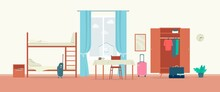 Clean Comfortable Hostel Room Interior Background, Flat Vector Illustration.