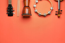 Different Musical Instruments On Color Background