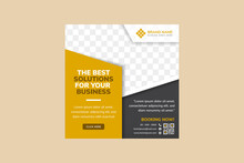 Set Of The Best Business Solutions Social Media Post Template Banners Ads. Editable Vector Illustration With Luxury Concept Use Gold And Black Colors. Dot Halftone Pattern With Photo Space.