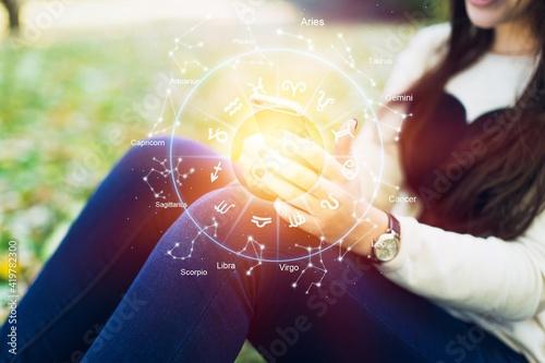 Obraz na płótnie Horoscope astrology zodiac illustration with young woman