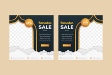 Set Of Ramadan Sale Social Media Post Template Banners Ad. Editable Vector Illustration With Luxury Concept Use Gold And Dark Blue Colors.