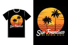 T-shirt Sunset Beach San Francisco Summer Vintage Style