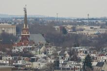 Aerial Panorama Of Allentown, Pennsylvania Skyline. Allentown Is Pennsylvania's Third Most Populous City.