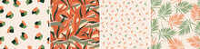A Set Of Abstract, Minimalistic, Seamless Patterns. Artistic Palm Leaves, Tropical Exotic Strelitzia Flowers. Vector Graphics.