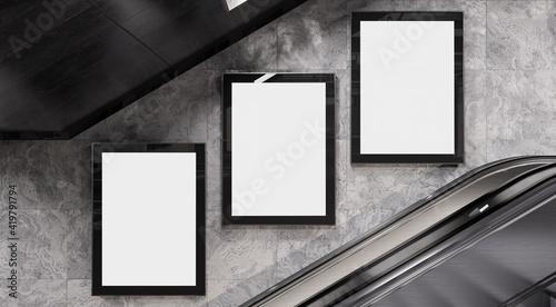 Fotografía Three vertical billboards on underground wall Mockup