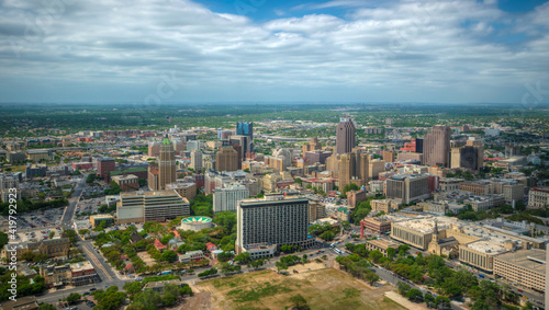 Canvas Print Top view of downtown San Antonio from Tower of the Americas