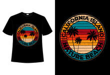 T-shirt Beach Nature California Island Retro Vintage