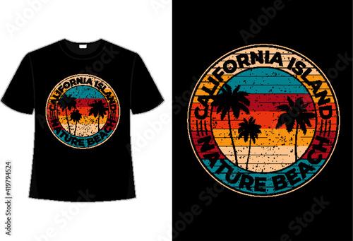 Leinwand Poster T-shirt beach nature california island retro vintage