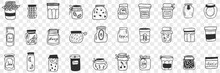 Jars And Containers For Food Doodle Set. Collection Of Hand Drawn Various Shapes And Forms Of Glass Jars For Keeping Preserved Food Jam Grains And Cereals Isolated On Transparent Background
