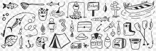 Fishing Tools And Accessories Doodle Set. Collection Of Hand Drawn Hooks Camping Worm Clothing Bucket Fishes Bonfire Lamp For Fishing On Nature Hobby Leisure Active Rest On Transparent Background