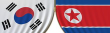 Flags Of South Korea And North Korea And Closing Or Opening Zipper Between Them. Political Negotiations Or Interaction Conceptual 3D Rendering