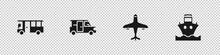 Set Bus, Minibus, Plane And Cargo Ship Icon. Vector.