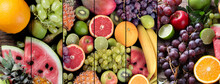 Collage Of Fresh Raw Fruits. Healthy Diet Eating Concept.