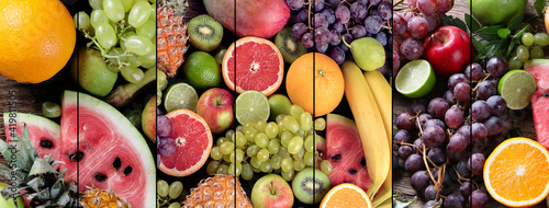 Fototapeta Collage of fresh raw fruits. Healthy diet eating concept. obraz