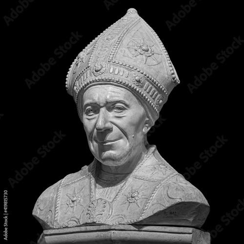 Marble statue of bishop SLeonardo Salutati isolated on black background, was a R Fototapeta